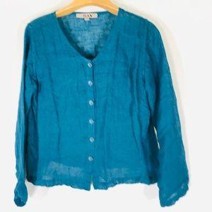 Flax button shirt v neck Small EUC sheer